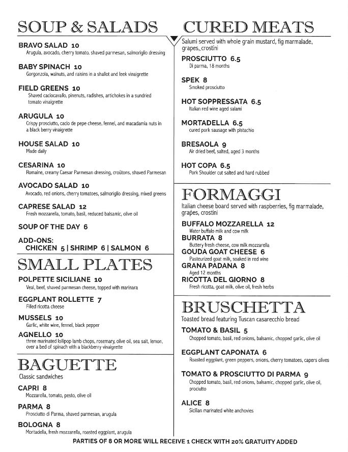 Bacco Lunch and Dinner Menu